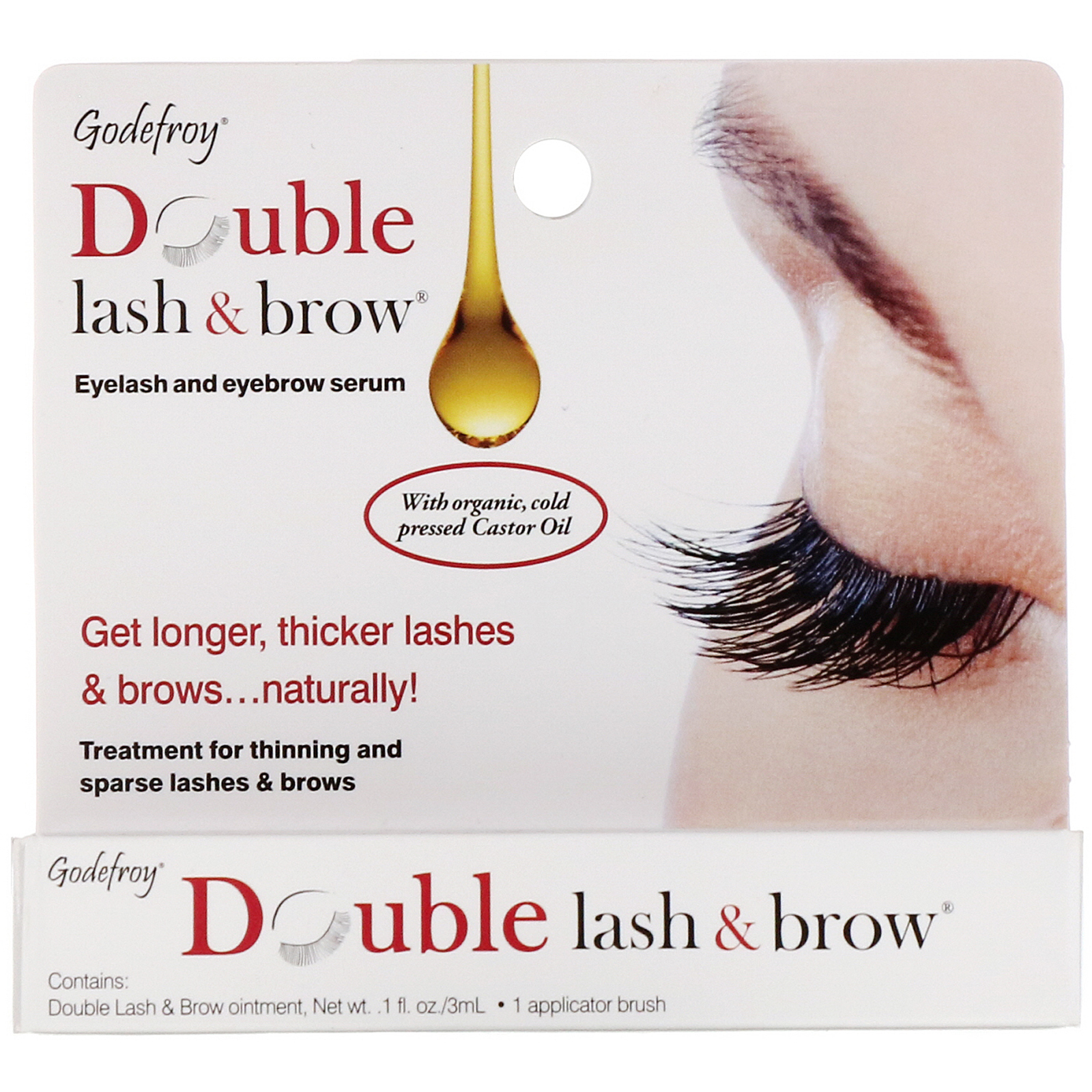 1199ee0fdc4 Godefroy, Double Lash & Brow, Eyelash and Eyebrow Serum, 0.1 fl oz (3 ml)