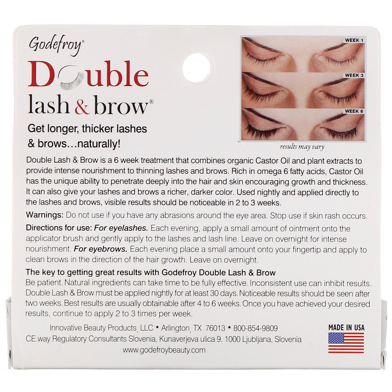 6860606f75b Godefroy, Double Lash & Brow, Eyelash and Eyebrow Serum, 0.1 fl oz (3 ml).  By Godefroy