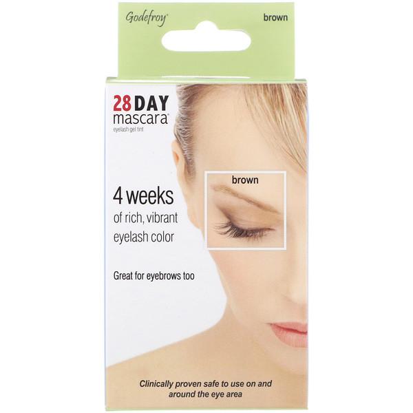 Godefroy, 28 Day Mascara, Trousse de coloration en gel pour cils, Brun, Trousse pour 25applications (Discontinued Item)
