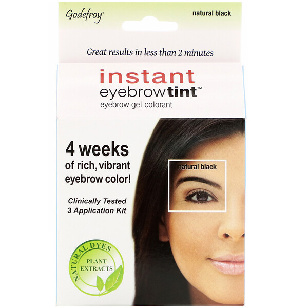 Godefroy, Instant Eyebrow Tint, Natural Black, 3 Application Kit