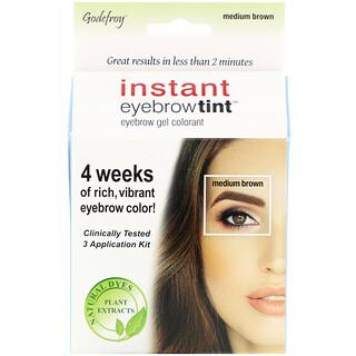 Godefroy, Instant Eyebrow Tint, Medium Brown, 3 Application Kit