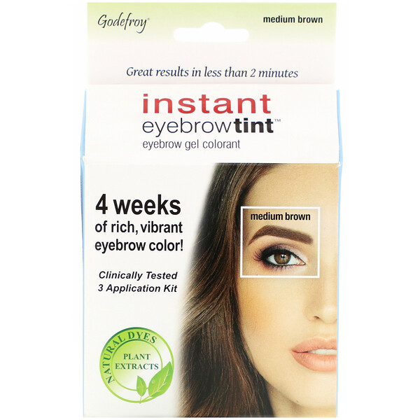 Godefroy, Instant Eyebrow Tint, Medium Brown, 3 Application Kit