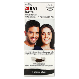 Godefroy, 28 Day Touch Ups, Natural Black, 4 Application Kit