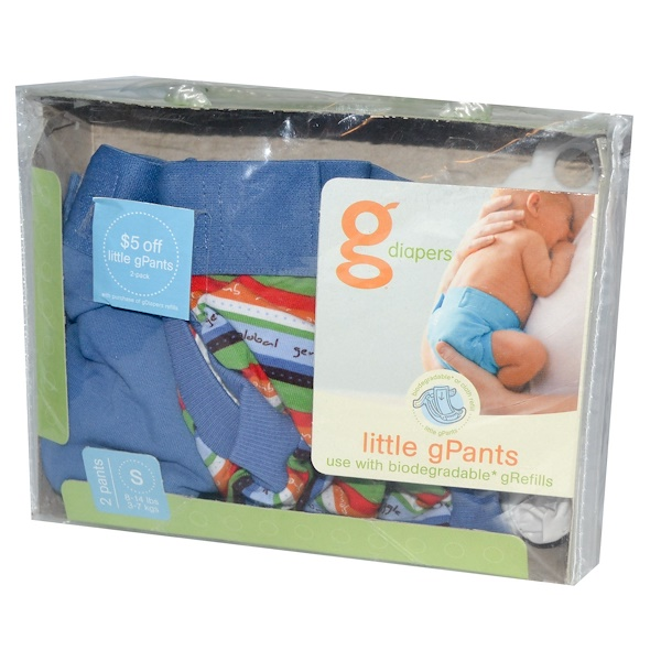 G-Diapers, Little gPants, Small Size 8-14 lbs (3-7 kgs), 2 Pants  (Discontinued Item)