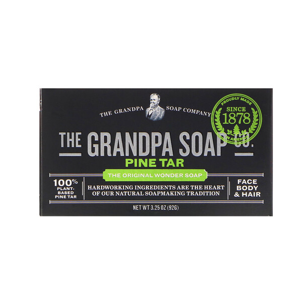Face Body & Hair Bar Soap, Pine Tar, 3.25 oz (92 g)