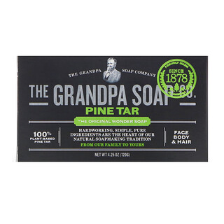 Grandpa's, Face Body & Hair Bar Soap, Pine Tar, 4.25 oz (120 g)