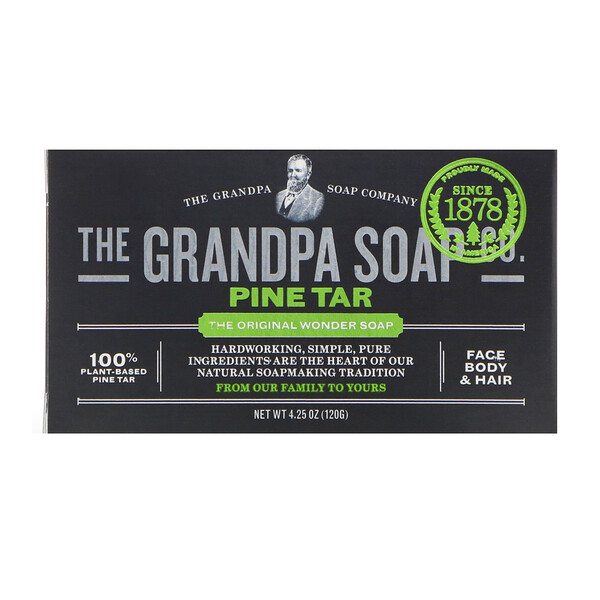 Face Body & Hair Bar Soap, Pine Tar, 4.25 oz (120 g)