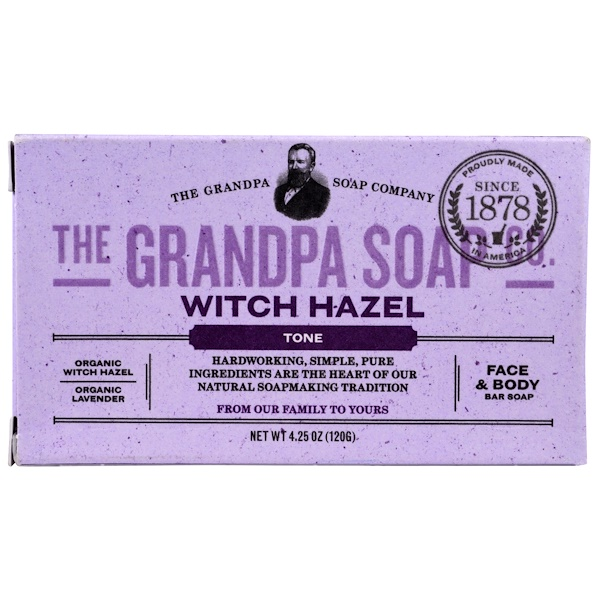Grandpa's, Face & Body Bar Soap, Tone, Witch Hazel, 4.25 oz (120 g)