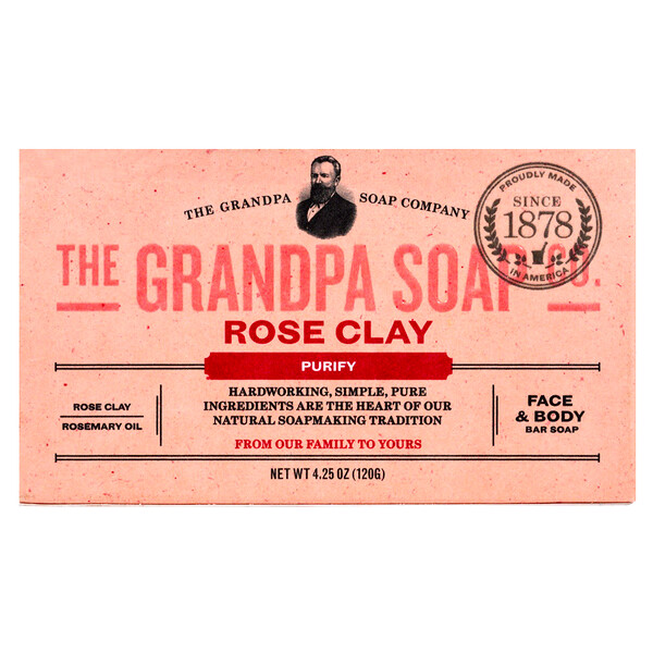 Grandpa's, Face & Body Bar Soap, Purify, Rose Clay, 4.25 oz (120 g) (Discontinued Item)