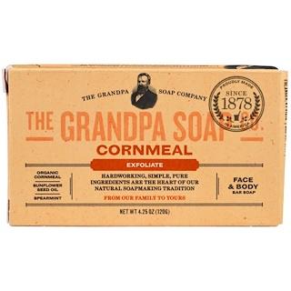 Grandpa's, Jabón en barra para la cara y el cuerpo, exfoliante, harina de maíz, 4.25 onzas (120 g)