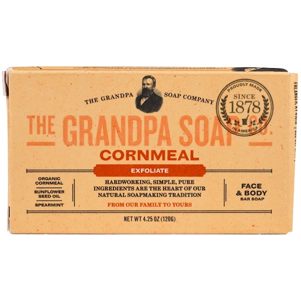 Grandpa's, Face & Body Bar Soap, Exfoliate, Cornmeal, 4.25 oz (120 g) (Discontinued Item)
