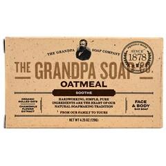 The Grandpa Soap Co., 面部和身體塊皂,舒緩,燕麥,4.25 盎司(120 克)