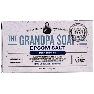 Grandpa's, Face & Body Bar Soap, Deep Cleanse, Epsom Salt, 4.25 oz (120 g)