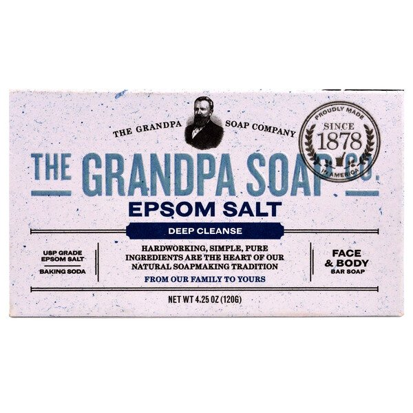 Face & Body Bar Soap, Deep Cleanse, Epsom Salt, 4.25 oz (120 g)