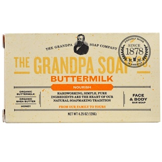 Grandpa's, Face & Body Bar Soap, Nourish, Buttermilk, 4.25 oz (120 g)