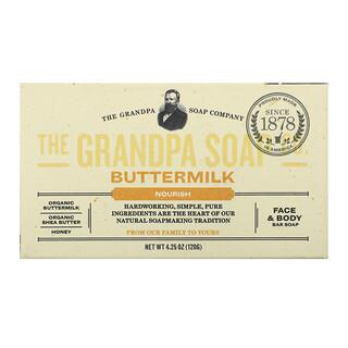 The Grandpa Soap Co., Sabonete para Rosto e Corpo, Energizante, Soro de Leite, 120 g