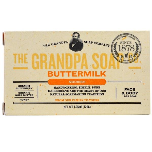 Grandpa's, Jabón en barra para la cara y el cuerpo, nutritivo, suero de leche, 4.25 onzas (120 g)