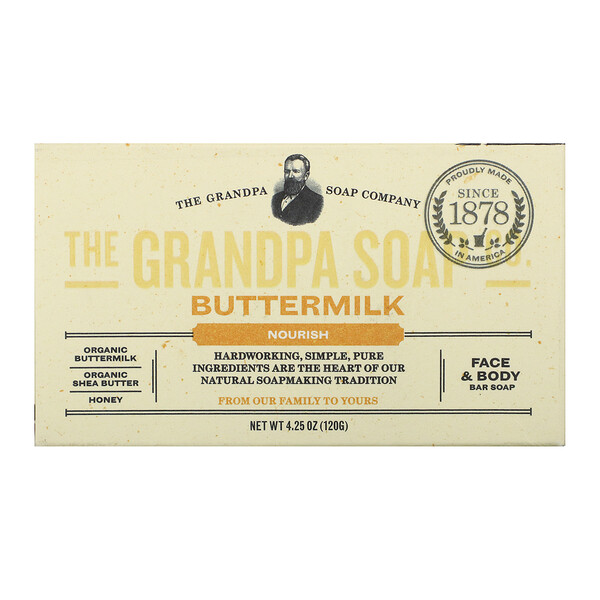 Face & Body Bar Soap, Nourish, Buttermilk, 4.25 oz (120 g)