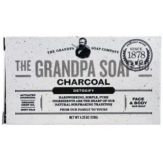 Grandpa's, Face & Body Bar Soap, Detoxify, Charcoal, 4.25 oz (120 g)