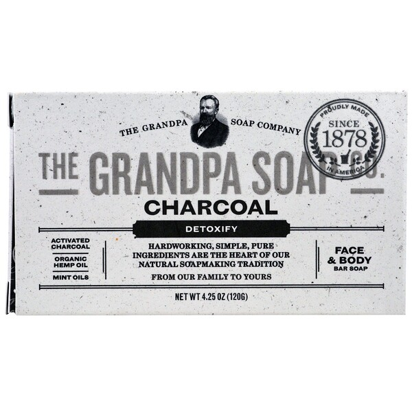 Face & Body Bar Soap, Detoxify, Charcoal, 4.25 oz (120 g)