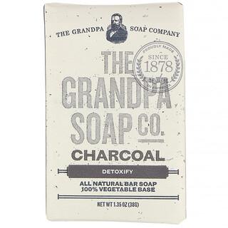 Grandpa's, Jabón en barra para rostro y cuerpo, Desintoxicante, Carbón, 38g (1,35oz)