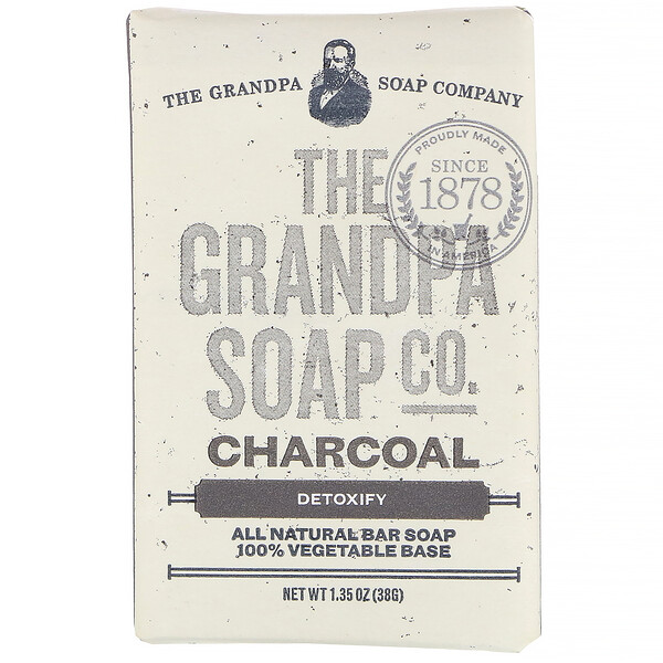 Grandpa's, Face & Body Bar Soap, Detoxify, Charcoal, 1.35 oz (38 g)