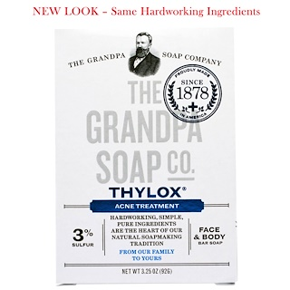 Grandpa's, Face & Body Bar Soap, Thylox Acne Treatment,3.25 oz (92 g)