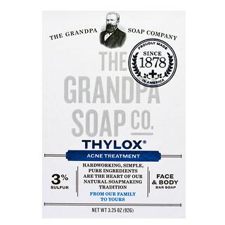 The Grandpa Soap Co., لوح صابون الجسم والوجه، Thylox لعلاج حب الشباب، 3.25 أونصات (92 جم)