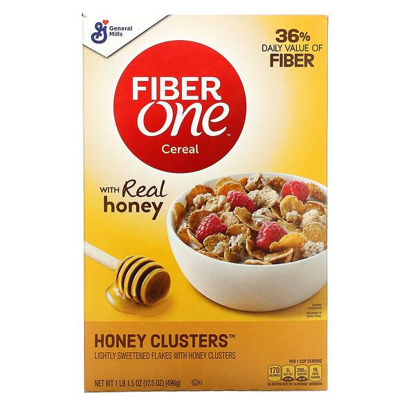General Mills, Fiber One Cereal, Honey Clusters, 17.5 oz (496 g)