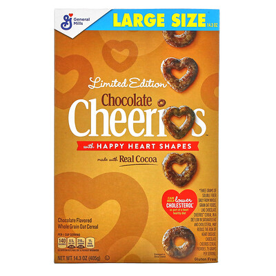 General Mills Limited Edition, Chocolate Cheerios with Happy Heart Shapes, 14.3 oz (405 g)