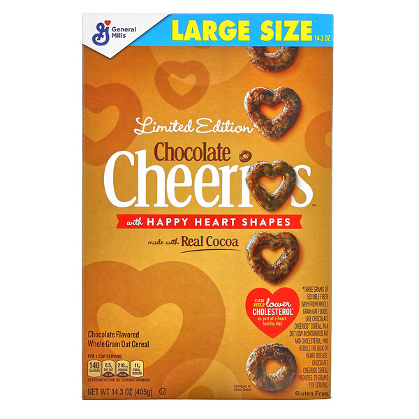 Limited Edition, Chocolate Cheerios With Happy Heart Shapes, 14.3 oz (405 g)