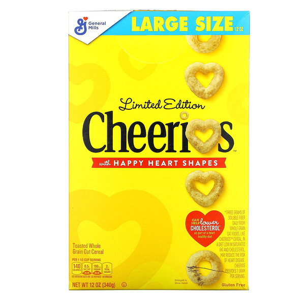Limited Edition, Cheerios with Happy Heart Shapes, 12 oz (340 g)