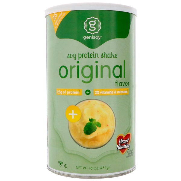 GeniSoy Products, 大豆蛋白奶昔粉,原味,16盎司(454克)