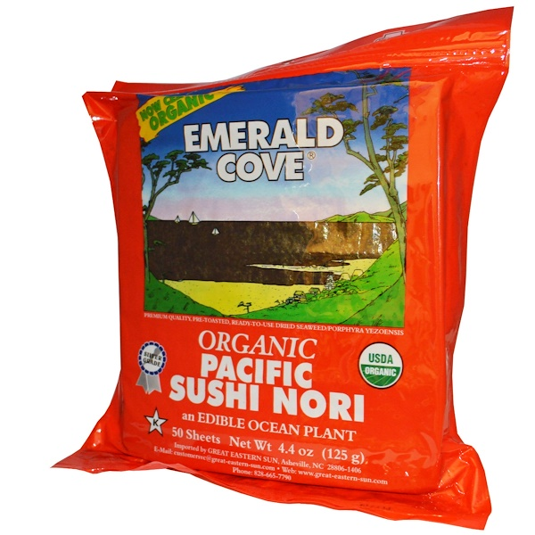 Great Eastern Sun, Emerald Cove, Organic Pacific Sushi Nori, 50 Sheets, 4.4 oz (125 g) (Discontinued Item)