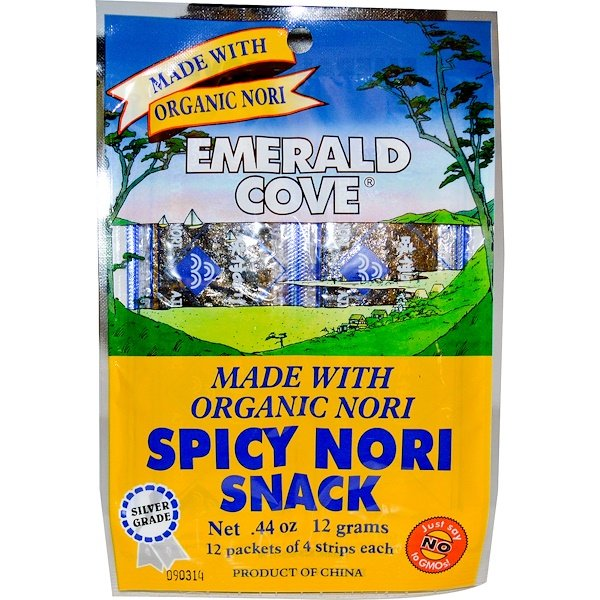 Great Eastern Sun, Emerald Cove, Spicy Nori Snack, 12 Packets of 4 Strips Each, 0.44 oz (12 g) (Discontinued Item)