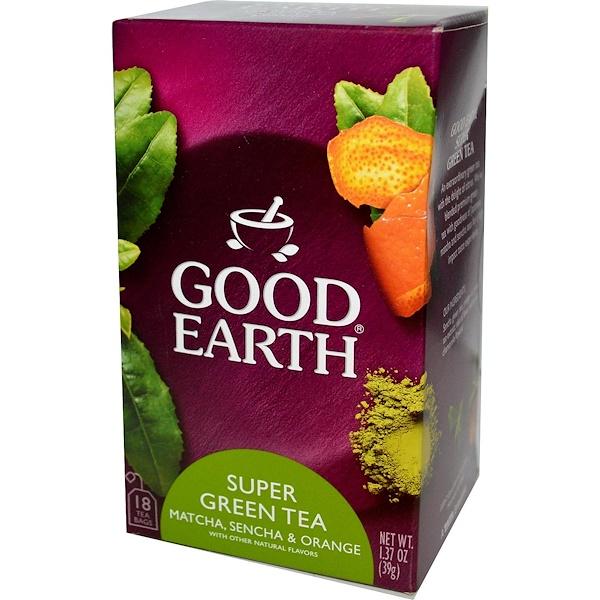 Good Earth Teas, Super Green Tea, Matcha, Sencha & Orange, 18 Tea Bags, 1.37 oz (39 g) (Discontinued Item)