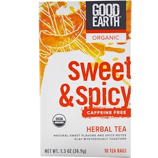 Good Earth Teas, Organic, Sweet & Spicy, Caffeine Free, Herbal Tea, 18 Tea Bags, 1.3 oz (36.9 g)