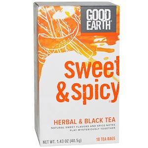 Good Earth Teas, Травяной и черный чай, сладкий и пряный, 18 пакетиков, 1,43 унции (40,5 г)