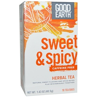 Good Earth Teas, Sweet & Spicy, Caffeine Free, Herbal Tea, 18 Tea Bags, 1.43 oz (40.5 g)