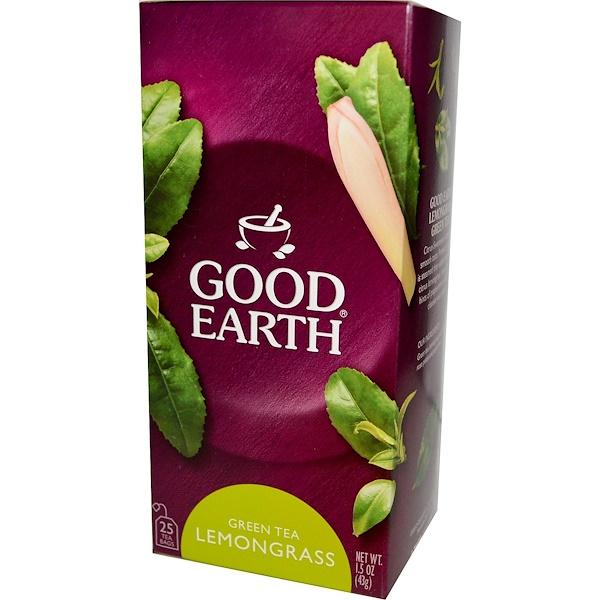 Good Earth Teas, Green Tea, Lemongrass, 25 Tea Bags, 1.5 oz (43 g) (Discontinued Item)