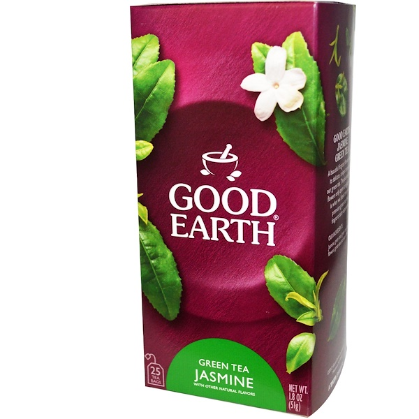 Good Earth Teas, Green Tea Jasmine, 25 Tea Bags, 1.8 oz (51 g) (Discontinued Item)