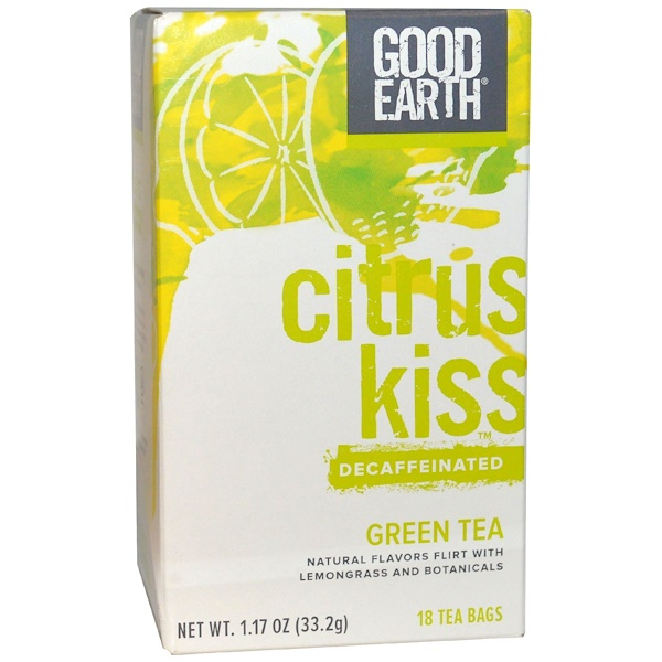 Good Earth Teas, Citrus Kiss, Decaffeinated, Green Tea, 18 Tea Bags, 1.17 oz (33.2 g)