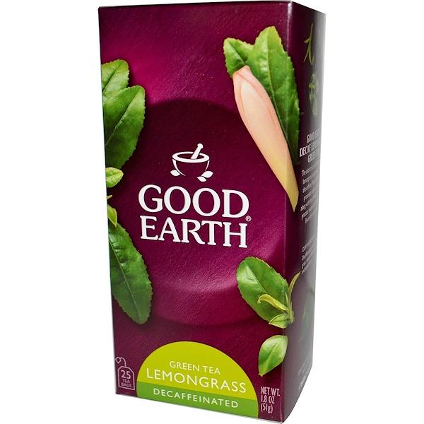 Good Earth Teas, Green Tea, Lemongrass, Decaffeinated, 25 Tea Bags, 1.8 oz (51 g) (Discontinued Item)