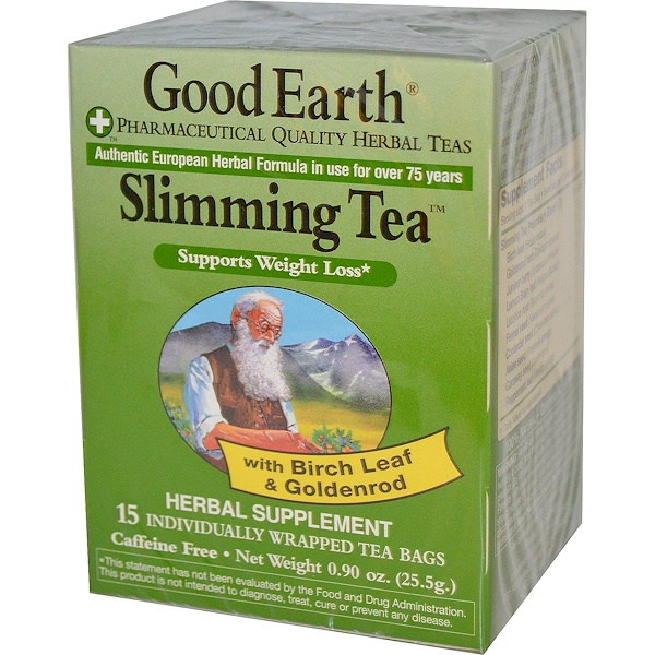 Good Earth Teas, Slimming Tea, Caffeine Free, 15 Individually Wrapped Tea Bags, 0.90 oz (25.5 g) (Discontinued Item)