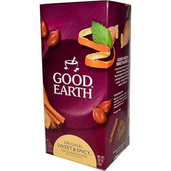 Good Earth Teas, Original Sweet & Spicy Tea & Herb Blend, 25 Tea Bags, 1.87 oz (53 g) (Discontinued Item)