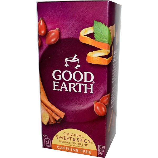 Good Earth Teas, Original Sweet & Spicy Herbal Tea Blend, Caffeine Free, 25 Tea Bags, 1.87 oz (53 g) (Discontinued Item)