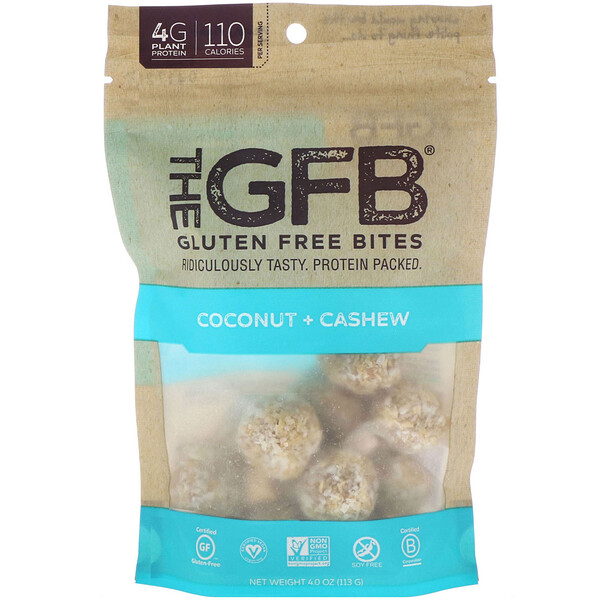 The GFB, Gluten Free Bites, Coconut + Cashew, 4.0 oz (113 g) (Discontinued Item)