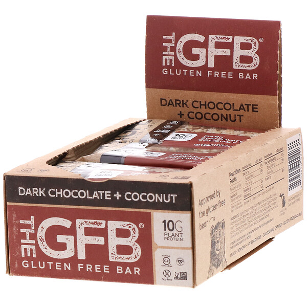 The GFB, Gluten Free Bar, Dark Chocolate + Coconut, 12 Bars, 2.05 oz (58 g) Each (Discontinued Item)