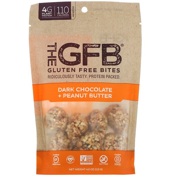 The GFB, Gluten Free Bites, Dark Chocolate Peanut Butter, 4 oz (113 g) (Discontinued Item)