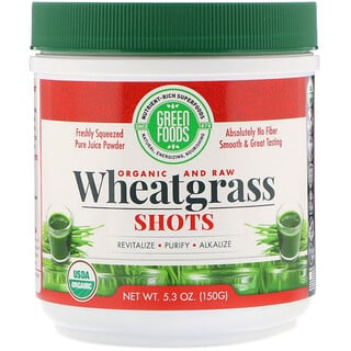 Green Foods Corporation, Organic & Raw, Wheatgrass Shots, 5.3 oz (150 g)